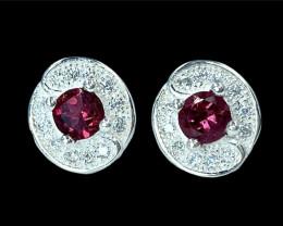 0.49ct.Beautiful Natural Rubelite Gemstone Silver925 Earring.DRL366
