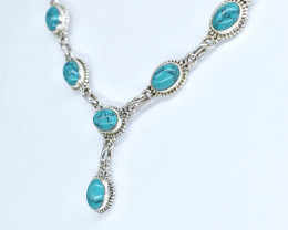 TURQUOISE NECKLACE NATURAL GEM 925 STERLING SILVER AN183