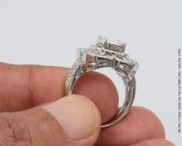2 carat 7mm face up Asscher pie-cut Natural White Diamonds 18K Gold Ring 0.95ctw