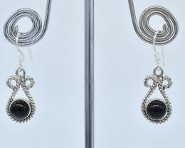 BLACK ONYX  EARRINGS 925 STERLING SILVER NATURAL GEMSTONE AE1230