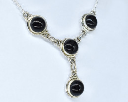 BLACK ONYX NECKLACE NATURAL GEM 925 STERLING SILVER AN185