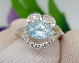 Natural Blue Aquamarine 18.60 Carats 925 Silver Ring