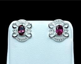 0.78ct.Elegant Natural Rubilite Gemstone Silver925 Earring.DRL403