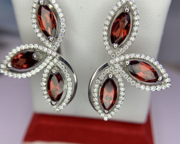 Natural Garnet Earrings with CZ.