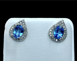 1.77ct.Magnificent Natural Topaz Silver925 Earring.DTP417