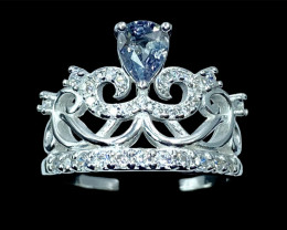 0.61ct.Enticing Crowning Sapphire Silver925 Ring.DBS411