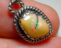 11.55ct Natural Ethiope Welo Opal .925 Sterling Silver