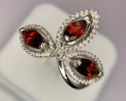 Natural garnet ring with CZ.