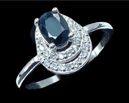 0.85ct.Glamorous Natural Blue Sapphire Silver925 Ring.DBS418