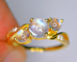 Natural 3Pis Rainbow Moonstone Cabochon ,CZ 925 Silver Gold Plated Ring