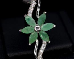 AAA Beautiful Natural Emerald 8.42 Cts, CZ Silver Pendant