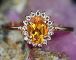 AAA Beautiful Natural Citrine & CZ Rose Gold Plating Silver Ring
