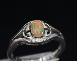 12.11 Cts, Natural Fire Opal Silver Ring Beautiful Design