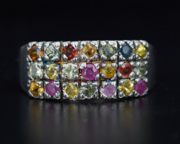AAA Natural Multi-Color Sapphire & CZ, 24.86 Cts  Silver Ring