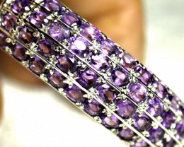 169.5 Tcw. White Gold Plated Silver Bracelet with Amethysts - Gorgeous