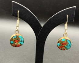 Traditional Handmade Nepalese Coral, Turquoise Earring. Cr-593