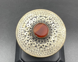 Traditional Old Afghani Handmade Carnelian Agate Ring. Ag-6564