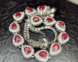 Natural Ruby Bracelet with CZ.