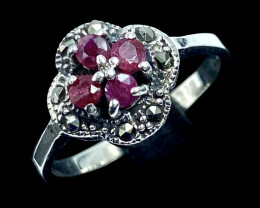 Artistic Vintage Style Natural Ruby Silver925 Ring.Dmix02