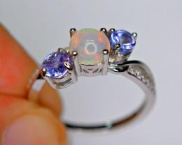Natural 2Pis Tanzanite , Top Fire Opal , CZ 925 Silver Amazing Ring