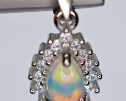 Natural AAA Very Top Fire Opal , CZ 925 Silver Amazing Pendant