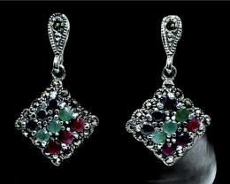 Artistic Vintage Style Natural Multi Gemstone Silver925 Pendant.Dmix08