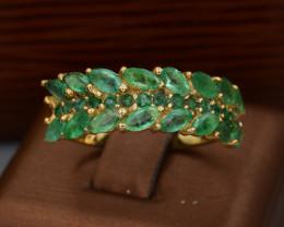 AAA Natural Emerald & CZ, Silver Ring Beautiful Design