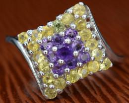 Beautiful Natural Amethyst  & Yellow Sapphire  Silver Ring