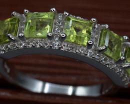 AAA Natural Green Peridot & CZ  Silver Ring Unique Design