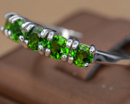 Gorgeous Natural Chrome Diopside, CZ & 925 Silver Ring