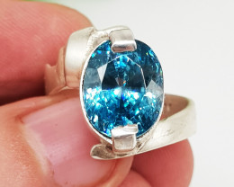 Natural Blue Zircon 35.80 Carats with 925 Silver Ring