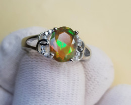 Natural Multi Fire Opal 14.70 Carats 925 Sterling Silver Ring