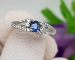 Natural Blue Sapphire 15.25 Carats 925 Silver Ring