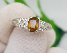 Natural Fire Sphene 10.30 Carats 925 Silver Ring