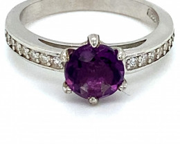 Amethyst 1.25ct Platinum Finish Solid 925 Sterling Silver Ring