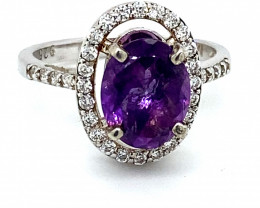 Amethyst 1.90ct Platinum Finish Solid 925 Sterling Silver Ring