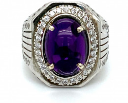Amethyst 5.10ct Platinum Finish Solid 925 Sterling Silver Ring