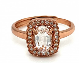 Aquamarine .75ct Rose Gold Finish Solid 925 Sterling Silver Ring