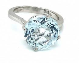 Aquamarine 8.02ct Solid 18K White Gold Ring