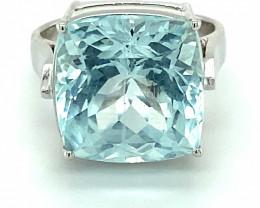 Aquamarine 14.75ct Solid 18K White Gold Ring