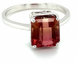 BiColor Tourmaline 3.31ct Solid 18K White Gold Ring