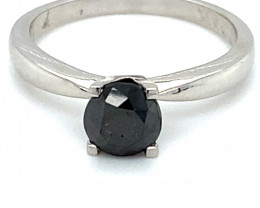 Black Diamond 1.20ct Solid 14K White Gold Ring