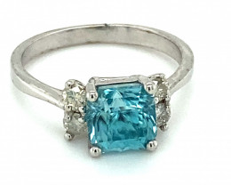 Cambodian Blue Zircon 2.75ct Natural Diamonds Solid 14K White Gold Ring