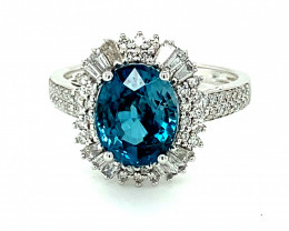 Blue Zircon 4.50ct Natural Diamonds Solid 18K White Gold Ring