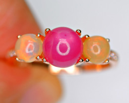 Natural AAA Top Fire Opal, Ruby , CZ 925 Silver Gold Plated Silver Ring