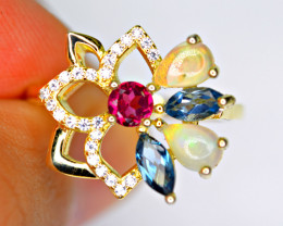 Natural 5 Pix mix color stone , CZ Amazing 925 Silver gold plated Ring