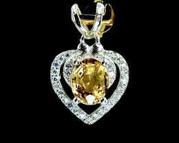 0.97ct.Magnificent Natural Citrine Gemstone Silver925 Pendant.DCT375