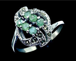 Artistic Vintage Style Natural Emerald Silver925 Ring.DMIX01