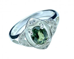 1.15ct.Artistic Natural Greenish Sapphire Gemstone Silver925 Ring.DBS 204