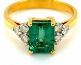 Zambian Emerald 2.40ct Natural Diamonds Solid 14K Yellow Gold Ring